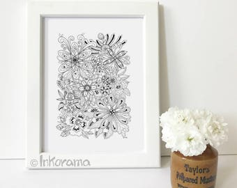 Floral Gems - Hand Drawn Black and White Floral Art Print (without frame)