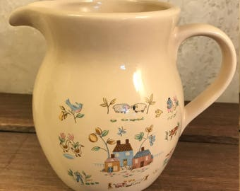 Vintage 32 Oz Pitcher and (2) Coffee Cups In Heartland By International - Farm Scene - Cream