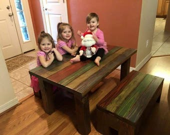 Kiddo Table and Storage Bench Set in Rainbow Colors