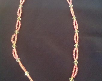 Double strand metallic pink necklace