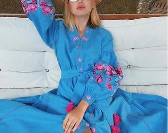 WOW!!! Long sky blue linen dress with floral embroidery - Ukrainian vyshyvanka embroidered dress - boho modern folk ethnic ukrainian style