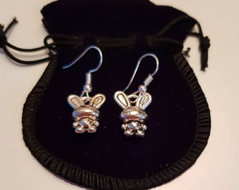 """Bunny """"Love"""" Quality Silver Plated Hook Earrings. Perfect for any girl who loves bunnies. Gorgeous Easter gift"""