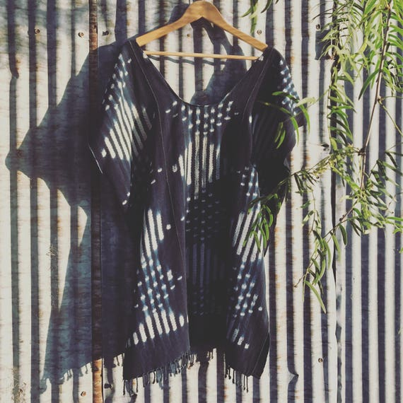 Shibori Caftan • Indigo Dress • Handwoven   Boho Tunic