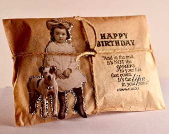 Unique Birthday Card. Coffee Greeting Card. Fresh Roasted Coffee. Handmade Embossed and Embellished. Birthday Gift Under 10 dollars