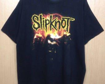 Vintage 90s Slipknot Shirt Heavy Metal / Glam Rock / Alternative Rock Band Tees X- Large Size