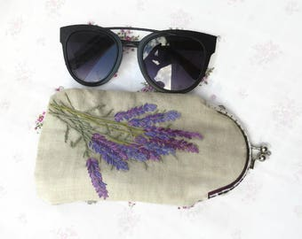 Glasses case Sunglasses Lavender Embroidery purse Spectacle case Glasses pouch Reading glasses case Frame linen fabric purse Sunglasses box