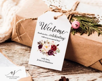 Marsala burgundy Floral Welcome Tag Favor Tag Wedding Welcome Bag Tag Editable Favor Tag Floral Tag Boho Wedding Thank You Tag #T03