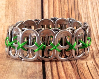 Upcycled Soda Can Tab Bracelet - Green