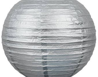 Lampion boule chinoise en papier argenté Brillant 50cm
