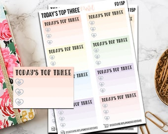 f015 | Today's Top Three // Functional Planner Stickers