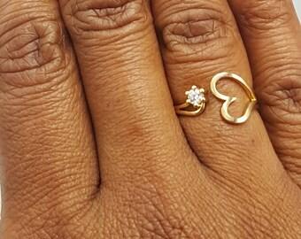 Gold Heart & Swarovski Crystal Ring