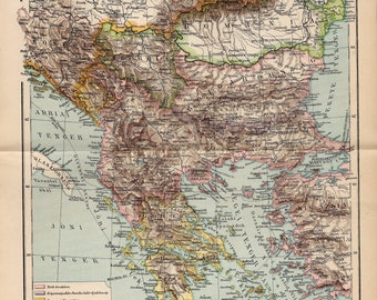 Antique map of the Balkan peninsula from 1893
