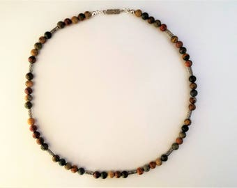 Picasso jasper gemstone and tibetan silver tube bead necklace for men
