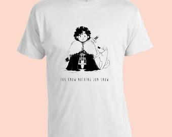 Game Of Thrones. Jon Snow. You know nothing Jon Snow. Funny. Cool. Vintage T-Shirt. White 100% Cotton