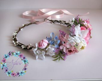 Wedding wreath, wreath bride, fall flower crown, floral crown, wreath with purple and white flowers