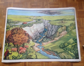 School poster geography - MDI - the tray / Hill - vintage