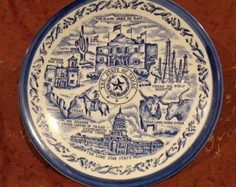 TEXAS! Souvenir Blue and White Plate