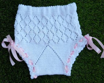 Openwork pants baby girl cotton beaded 0-3 months 6-9 months