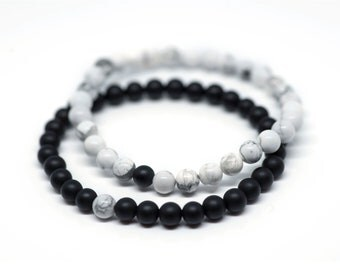 Howlite x Onyx Unity Bracelets - 6mm