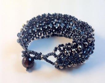 handmade netted bead bracelet