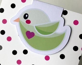Magnetic Bookmark. Green bird shaped Magnetic Bookmark. For books, planners and notebooks.