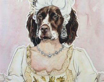 Dog Character Painting-Dog Portraits-Custom Watercolor Pet Portrait-Unique Gift-Funny-Pet Portrait-Marie Antoinette