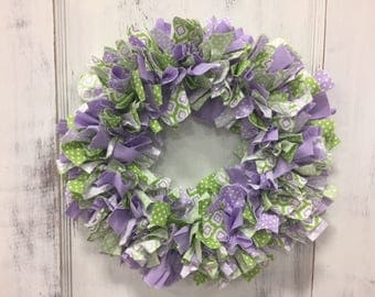 Lavender and Green Rag Wreath