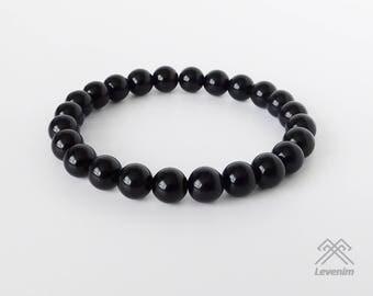 Obsidian bracelet - Black Obsidian bracelet - Beaded bracelet - Dragonglass bracelet - Mens bracelet - Unisex bracelet