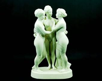 Antique European Bisque Porcelain Three Graces