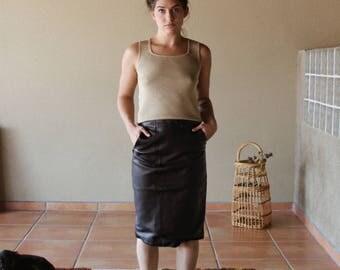 Vintage 80s 100% Leather Skirt