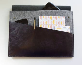 Clutch leather & felt with Pocket and flap