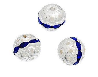 Navy Blue rhinestone Spacer spacer beads