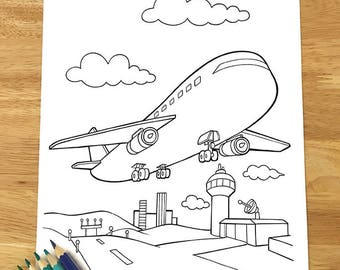 cute airplane coloring page downloadable pdf file