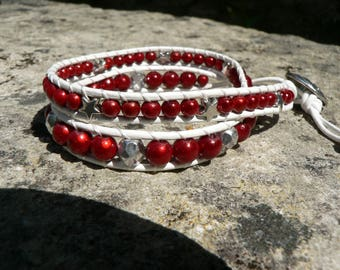 Wrap bracelet, bohemian style, leather and beads