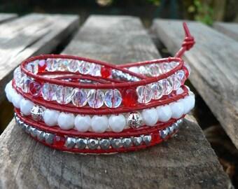 Bohemian style, bracelet leather wrap bracelet and beads