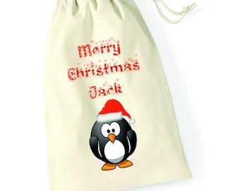 Personalised Penguin Merry Christmas Santa Sack Xmas Present Stocking Drawstring Custom Printed Keepsake Tumblr Pintrest