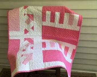 Baby quilt, crib quilt, play mat, nursery, decor, pink, white,