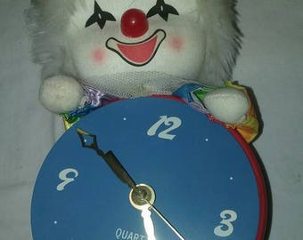 Vintage Rainbow Clown Rocking Clock/Child Bedroom Decor/Fun Gift/Circa 1980/Desk Clock/Shelf Accessories/Battery Powered/Eco Friendly