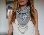 Grey Bandana with Silver Chain and Charms | Bandana Necklace | Hipster Jewelry | Bandana Choker | Boho Fashion | Western Style | Statement