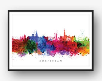 Amsterdam Skyline, Amsterdam The Netherlands Cityscape Holland Art Print, Watercolor, [SWAMS01]