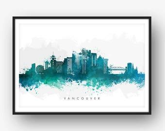 Vancouver Skyline, Vancouver Canada Cityscape, Art Print, Wall Art, Watercolor, Watercolour Art Decor [SWYVR07]