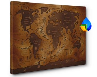 Wood panel world map etsy map of the world on canvas single panel non push pin vintage map gumiabroncs Gallery