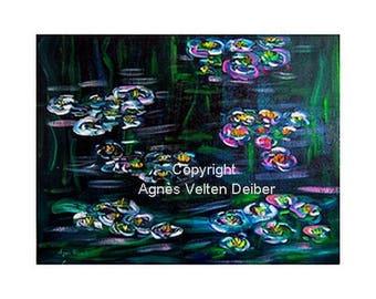 Oil on canvas - Nymphaeaceas - Agnes Velten Deiber