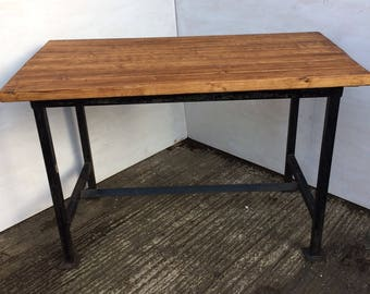 Genuine reclaimed wrought iron Industrial works - dining table/bench with solid block/plank wood top