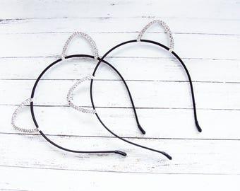 Cat ears headband Silver Cat Ears Headband Cat Ears Crystal Cat Ears Cat Costume  Cosplay Cat Ears  Kitty Ears Cat Headband