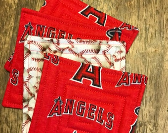 Free shipping. LA angeles baseball coasters, fabric coasters, quilted coasters.