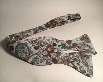 Blue Paisley Bow Tie (Self-Tie)