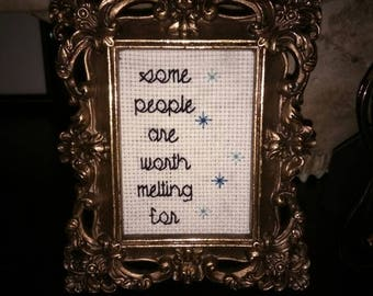 Olaf from frozen inspired quote cross stitch