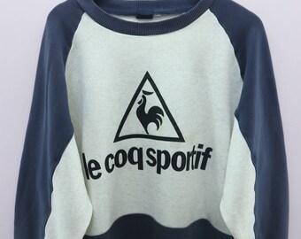 Vintage Le Coq Sportif Sweatshirt Big Logo Sportswear Street Wear Round Neck Pullover Sweater Size XL