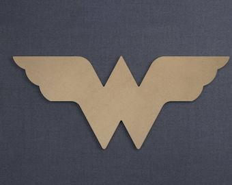 Wonder Woman Logo, Wood Cutout, Unfinished Sign